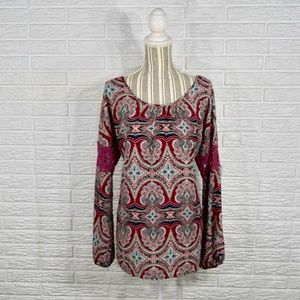 5/$25 Pink Owl Boho Tunic Top w/Crocheted Accents